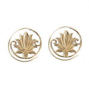 Lotus flower spiral earrings 3 cm