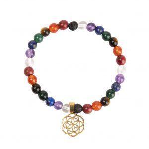Bracelet graine de vie 7 pierres semi précieuses 0