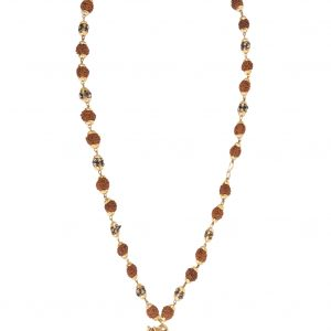 Mala aum rudraksha doré 26 rudrakshas 12 perles dorés