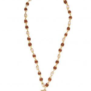 Mala aum rudraksha couleur clair26  rudrakshas 12 perles verre doré