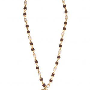 Mala aum rudraksha couleurfoncé 26 rudrakshas 12 perles verre doré dorure