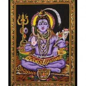 Dieu Shiva méditant avec sequins